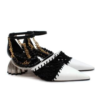 Loewe Black&White Leather and Macrame Point-toe Pumps