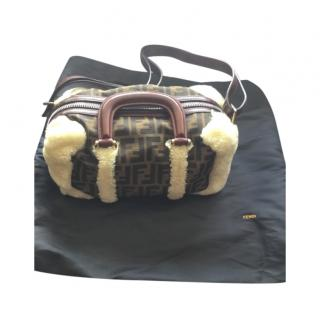 Fendi monogram sheepskin trip shoulder/top handle bag