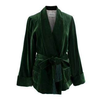 Racil Emerald Green Velvet Tassel Embellished Belted Jacket