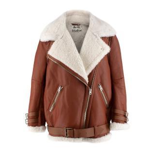 Acne Studios Nut Brown Velocite Shearling Oversized Jacket