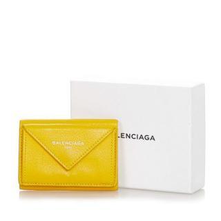 Balenciaga Yellow Leather Papier Compact Wallet