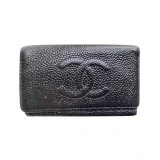 Chanel vintage black leather keyholder