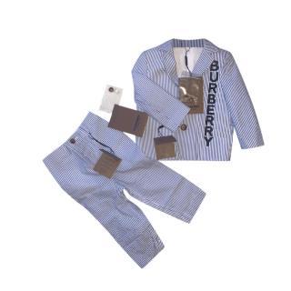 Burberry boy's blue & white seersucker striped suit