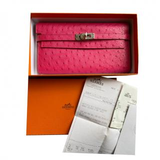Hermes Rose Tyrien ostrich leather Kelly Wallet
