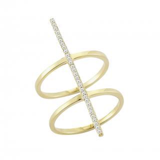 Mateo yellow gold and diamond bar ring