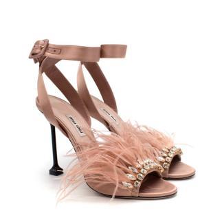 Miu Miu Pink Feather Crystal Embellished Heeled Sandals