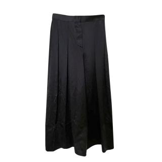 Givenchy black silk wide legged trousers