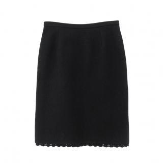 Dolce & Gabbana black wool mix/crochet trim pencil skirt