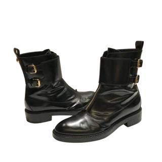 Louis Vuitton black leather double strap ankle boots