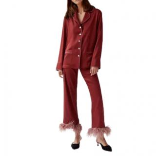 Sleeper Terracotta Feather-Trimmed Pyjama Set