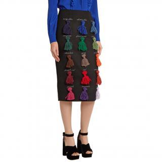 Stella Jean Sapare Tassel-Applique Wool Blend Black Pencil Skirt