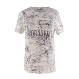 Dior Diorodeo Cotton&Linen Cream Graphic T-Shirt