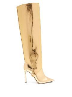 Jimmy Choo convertible metallic gold knee high boots