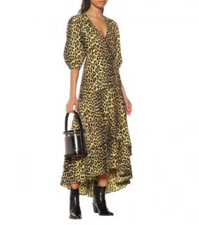 Ganni Leopard Printed Cotton Yellow Wrap Dress