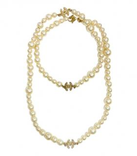 Chanel faux pearl and crystal  46cms necklace