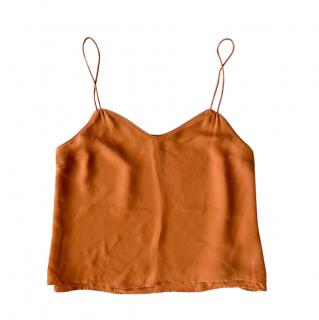 Veronica Beard teracotta orange silk crepe lined cami top