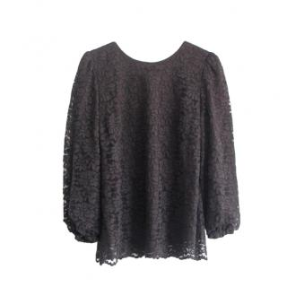Dolce & Gabbana black lace long sleeved top