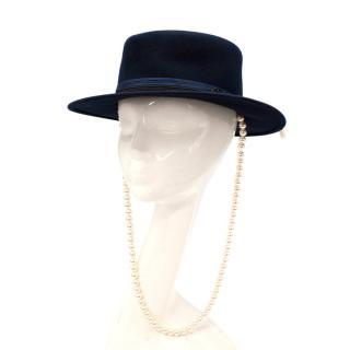 Maison Michel Kiki Faux-Pearl Rabbit-Blend Felt Navy Hat