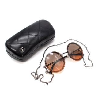 Chanel Chain Embellished Round Sunglasses