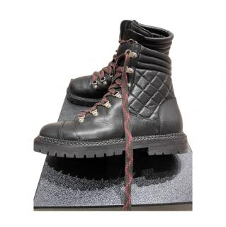 Chanel Quilted Black Leather lace Up Boots