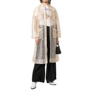 Ganni Sheer Tapioca Zip Up Shirt Dress