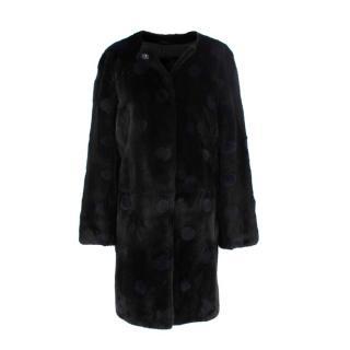 Yves Saint Laurent Black Blue Circle detail Mink Jacket/Coat