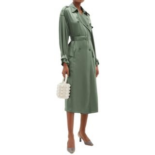 Red Valentino Green Belted Satin Trench Coat