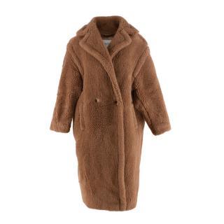 Max Mara Long Brown Teddy Camel Wool Winter Coat