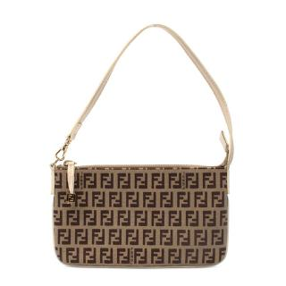 Fendi Beige FF Monogram Baguette Handbag