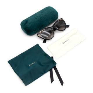 Gucci Black Cat Eye Mother of Pearl Embellished Sunglasses