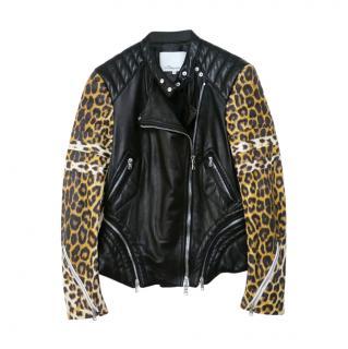 Phillip Lim leopard sleeved black leather biker jacket