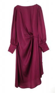 L'Autre Chose burgundy draped midi dress