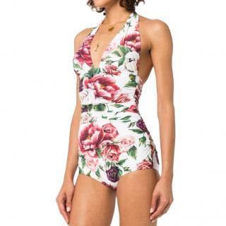 Dolce & Gabbana peony rose print bathing suit