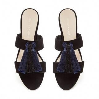 Loeffler Randall Black Suede Rubie slide sandals