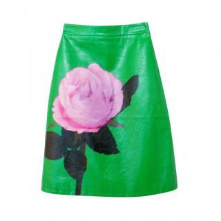 Prada real rose print grren leather skirt