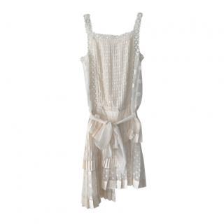 Zimmermann cream pleated silk mini dress