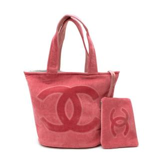 Chanel Pink CC Terry Cotton Beach Bag & Towel Set