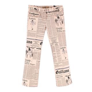 John Galliano Newspaper Printed Neutral Trousers