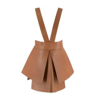Alena Akhmadullina Tan Leather Suspender Peplum Skirt