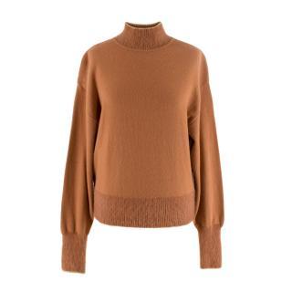 Alberta Ferretti Tan Wool&Cashmere Gold Thread Embellished Sweater