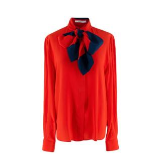 Givenchy Red Button-Front Silk Blouse with Striped Detachable Scarf