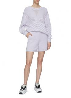 Barrie Crochet-knit Ribbed Cashmere Blend Lilac Sweater&Shorts Set