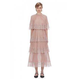 Self Portrait Nude Chiffon Cape Tiered Midi Dress