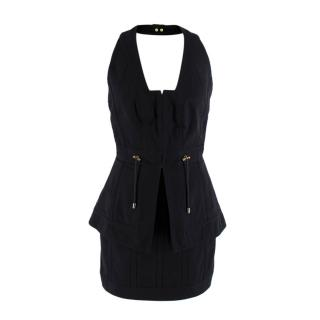 Balmain Black Cotton Halterneck Dres