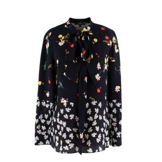 Derek Lam Black Mixed Floral Tie-neck Silk Blouse