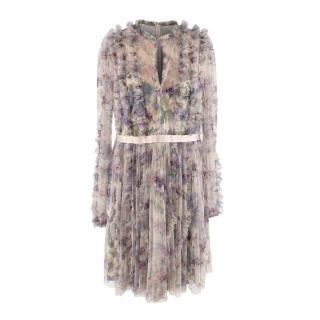 Needle & Thread Floral Print Chiffon Long Sleeve Dress