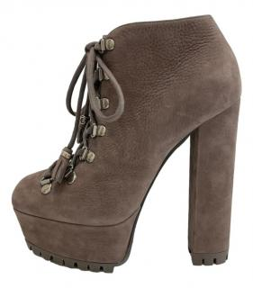 Gucci taupe shearling ankle boots