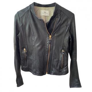 Day Birger & Mikkelsen soft black leather biker jacket