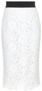 Dolce & Gabbana white corded lace pencil skirt
