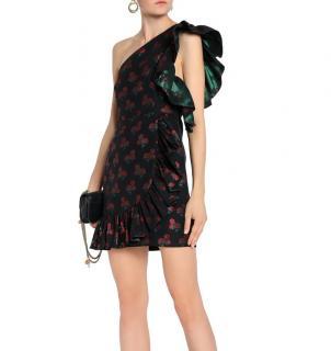 Sandro floral jacquard one shoulder dress